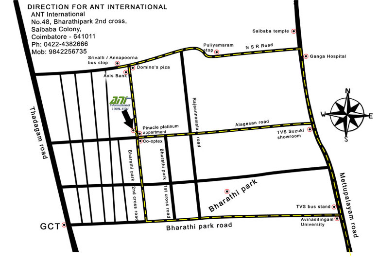 ANT International Coimbatore route map