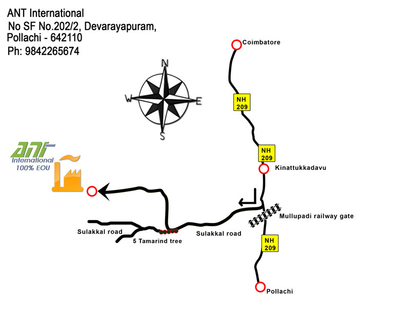 ANT International Factory route map